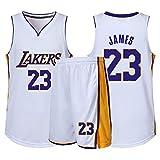 CHYSJ Baloncesto Jersey Lakers # 23 James Jersey-Summer Hombre Camiseta Transpirable, Uniforme de Equipo Deportivo, Blanco 2XS