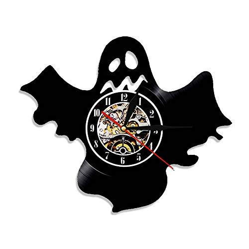 GVC Neuheit Lustige Halloween Ghost Vinyl Schallplatte Wanduhr Farbwechsel Wandleuchte Phantom Friedhof Zombie Apokalypse Untote Uhr