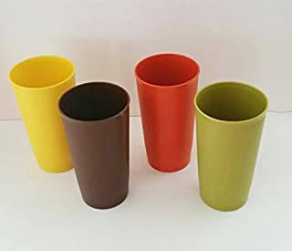 Vintage Tupperware 12 oz Stacking Textured Tumblers Fall Colors Set of 4