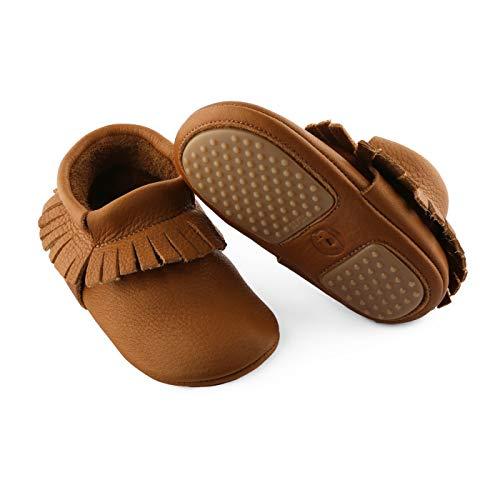 YugYug Krabbelschuhe für Baby (Classic Mokassin) aus echtem Leder (Bio Zertifiziert) - Lederpuschen für Babys, Babyschuhe für Mädchen & Jungs, Größe: 20, Farbe: Braun