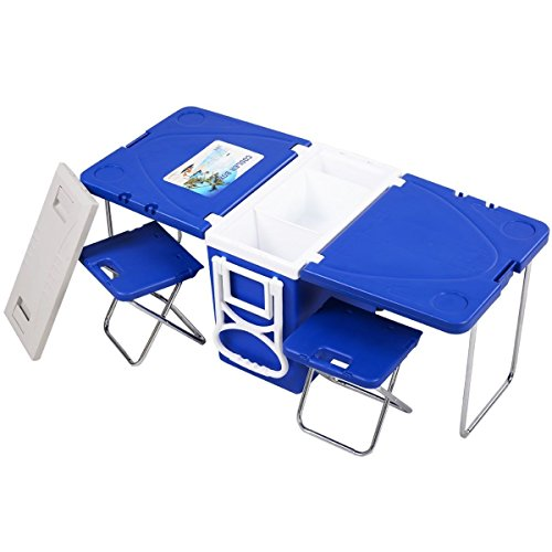 Heize best price Blue Camping Outdoor Rolling Cooler Picnic Multi Function w/Table with 2 Chairs (U.S. Stock)