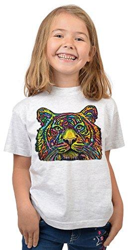 Tiger-Motiv Kindershirt - Kunstdruck Tiger - buntes Tigershirt für Kinder : Tiger - Tiermotiv Wildkatze Kinder T-Shirt Gr: XS = 110-116