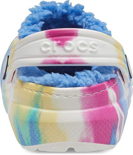 Crocs Kids' Classic Tie Dye Lined Clog | Kids' Slippers, Pastel Tie Dye, 4 Big Kid