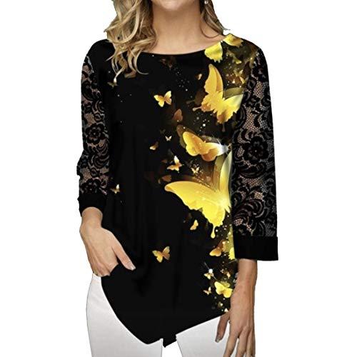 ZGRNPA Women's Long Sleeve V-Neck T-Shirt Tunic Tops Blouse Shirts. Womens Lace Tunics Henley Shirts 3/4 Bell Sleeve Button up Ladies Blouse Tops Pleated Casual Flared Flowy Shirt