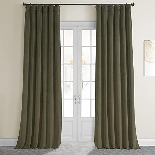 HPD Half Price Drapes VPCH-190622-96 Signature Blackout Velvet Curtain (1 Panel), 50 X 96, Hunter Green