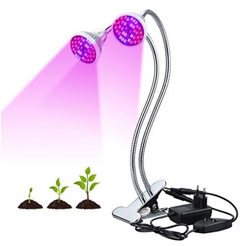 Finether 18W LED Grow Light a Doppia Testa, Lampada a Spettro Completo con 360 Collo di Cigno Flessibile per Casa, Giardino Idroponico, Serra, Piante D'appartamento, Orchidee, Frutta, Fiori, Colture V