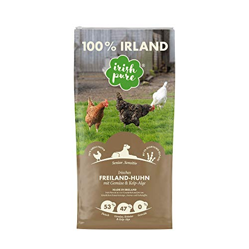 Irish Pure Senior Trockenfutter für Hunde, Hoher Fleischanteil, Vitamine, Getreidefrei, Sensitiv, Hundetrockenfutter, Hundefutter für alle Rassen (4kg)