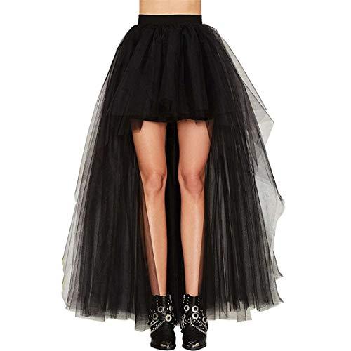 ZHER-LU Falda de tul para mujer con cola de milano, parte trasera sexy y esponjosa, falda de cola de golondrina, tutú, vestido de novia (negro, talla única)