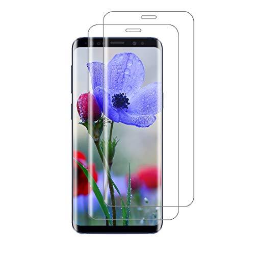 XSWO 2 Unidades Cristal Templado para Galaxy S9 Plus, Protector de Pantalla para Samsung Galaxy S9 Plus, [3D Cobertura Completa] [9H Dureza] [Sin Burbujas] [Anti Huella Digital] Vidrio Templado