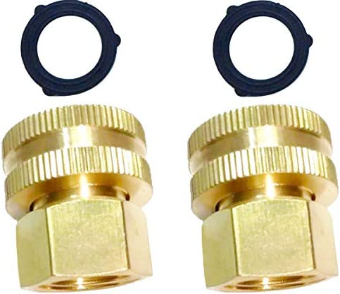 HZFJ 2PCS Garden Hose Adapter Double Female Brass Swivel Thread Size 1 2 NPT F to 3 4 NH F Garden product image