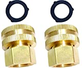 HZFJ 2PCS Garden Hose Adapter Double Female Brass Swivel Thread Size 1/2' NPT (F) to 3/4' NH (F) Garden Pipe Joint Extension Repair Fitting