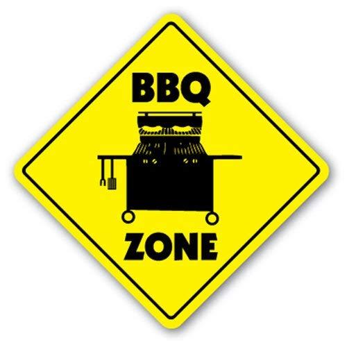 WallAdorn BBQ Zone Barbeque Gas Grill Cooker Sauce Texas Eisen Poster Malerei Blechschild Vintage Wanddekoration für Cafe Bar Pub Home 20,3 x 20,3 cm