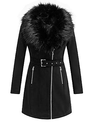 Bellivera Women's Faux Suede Leather Long Jacket, Wonderfully Heavy Coat with Detachable Faux Fur Collar 19249 Black M