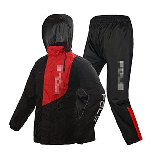 ZhuFengshop Impermeable para motocicleta, impermeable, pantalones de lluvia, poncho, chaqueta de lluvia para motocicleta, para montar a caballo, para motocicleta (color: rojo y negro, tamaño: