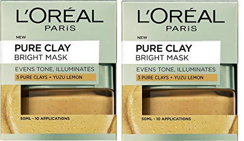 L'Oreal Paris 3 Pure Clays and Yuzu Lemon Bright Mask, 50 ml 2 Pack