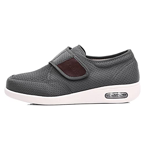 Zapatos Diabéticos para Hombre, Zapatillas De Ajuste Ancho Zapatillas De Deporte Ancianas Ajustables Pies Hinchados De Sandalia Espuma De Espuma Edema De Espuma,D,45