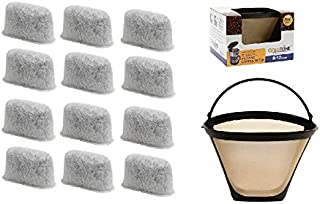 GoldTone Brand 8-12 Cup Coffee Filter & Set of 12 Charcoal Water Filters fits Cuisinart Coffee Maker and Brewers. Replaces your Cuisinart No.4 Cone Reusable Coffee Filter & Cuisinart Water Filter