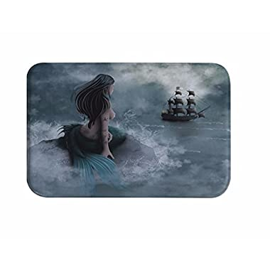 A.Monamour Mermaid And The Sailing Pirate Print Soft Absorbent Flannel Rubber Anti-Slip Backing Bathroom Mats Carpets Rugs 40x60cm / 16 x24