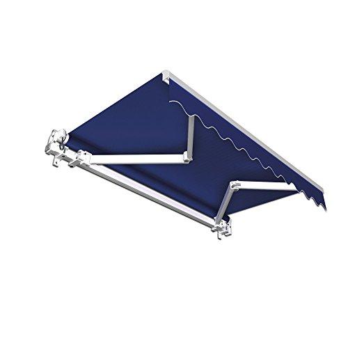 PARAMONDO Gelenkarmmarkise Basic Balkonmarkise Sichtschutz für Terrasse, 350 x 300 cm (Breite x Ausfall), Blau Uni