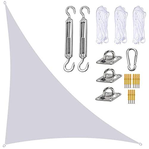 Toldo Vela Ángulo Recto Triángulo de Tejido Impermeable 4x4x5.7m con Protección UV Y Kit de Fijación y Cuerda, Protección Solar, para Instalación en Patios, Azoteas y Jardines,Blanco