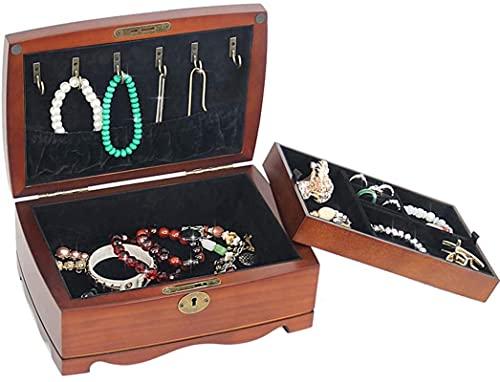 Caja de joyas Female de madera grande Caja de joyería de doble capa, mujer Vintage Joyery Box Organizer Regalo, 2 capas de 1 cajones móviles Llavero Llavero Almacenamiento Caja de maquillaje