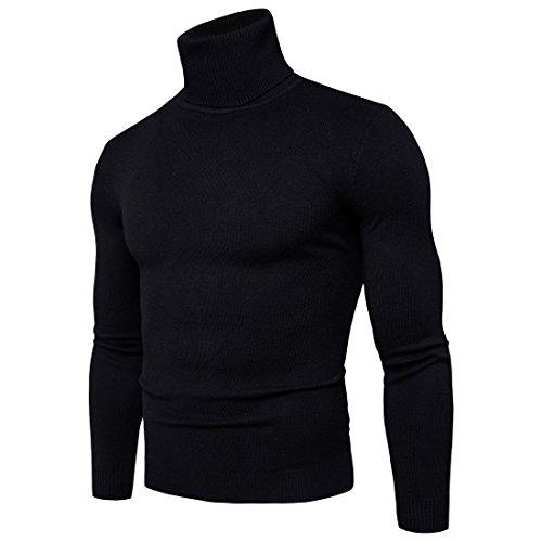 Heren trui met hoge kraag, jersey, basic, lange mouwen, effen -  zwart - XXXX-Large