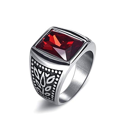 XDDT Anillo de boda para hombre, de acero inoxidable 316L, brillante, para hombre, hip hop, boda, anillo de eternidad (color de piedra principal: circón rojo, tamaño del anillo: 11)