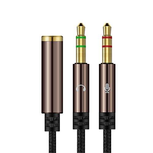 Yakamoz 1.1m Câble Audio Splitter 3.5mm Câble Adaptateur Jack Stéréo Audio 2 Mâles vers 1 Femelle en Aluminium pour Ordinateur de Bureau Ordinateur Portable Écouteur (Brun)