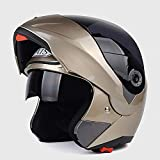QZFH Modulable modulaire Full Face Casque de Moto Moto avec Double Pare-Soleil (Lens Externe Noir), Léger Équipement...