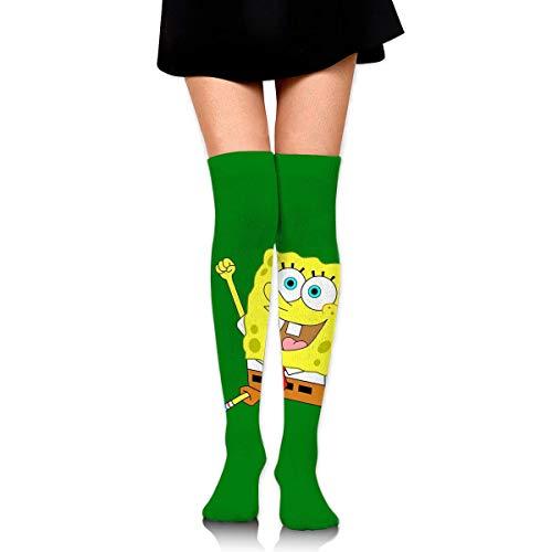 Frauen Oberschenkel Hohe Socken Kompression Beinwärmer Glücklicher SpongeBob Stiefel Strumpf Extra lange Sport Tube Socken