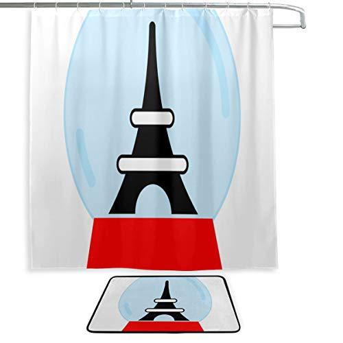 Cortina de Ducha para Hombre Símbolo de París Torre Eiffer Francia Cortinas para baño Alfombra de baño y Cortina de Ducha 2 Juegos con 12 Ganchos para baño Principal, baño de niños, baño de visitas