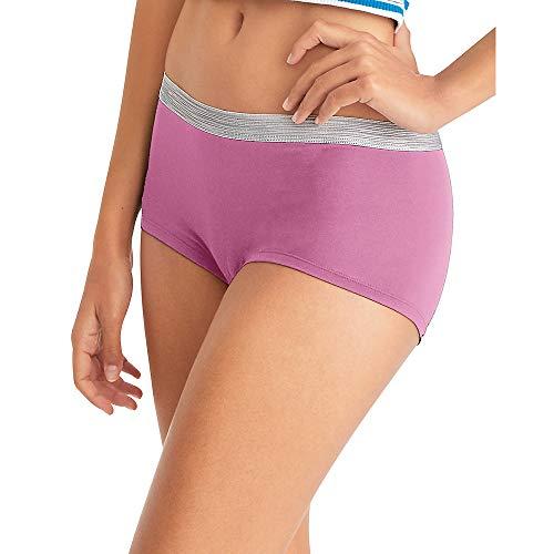 Hanes Women's Cool Comfort Sporty Microfiber Underwear, Boyshort-6 Pack-Assorted, 8