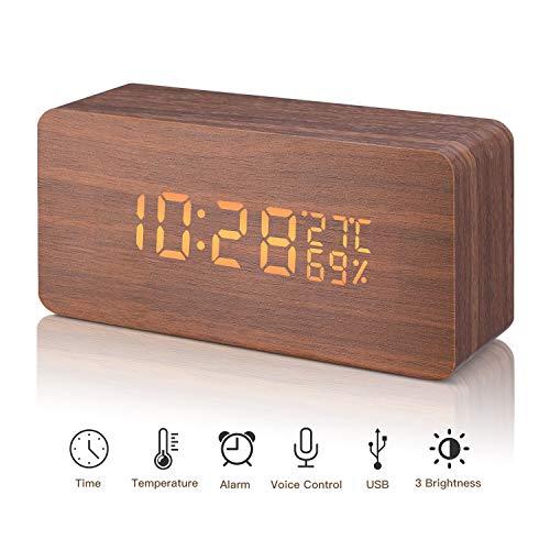 LED Reloj Despertador Digital de Madera Relojes USB 3 Niveles Brillo Ajustable Voz Touch Activado Mostrar Hora Fecha Semana Humedad Temperatura para Habitaciones de casa Oficina Niños (marrón)