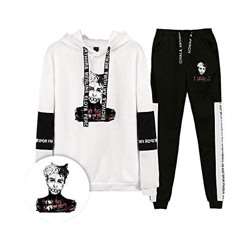Fittrame 2PCS/Set Sportswear and Pants Suits Rapper XXX Hoodie Hip Hop Pullover Memorial