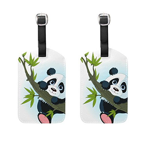 COOSUN Giant Panda Climbing Tree Luggage Tags Travel Labels Tag Name Card Holder for Baggage Suitcase Bag Backpacks, 2 PCS