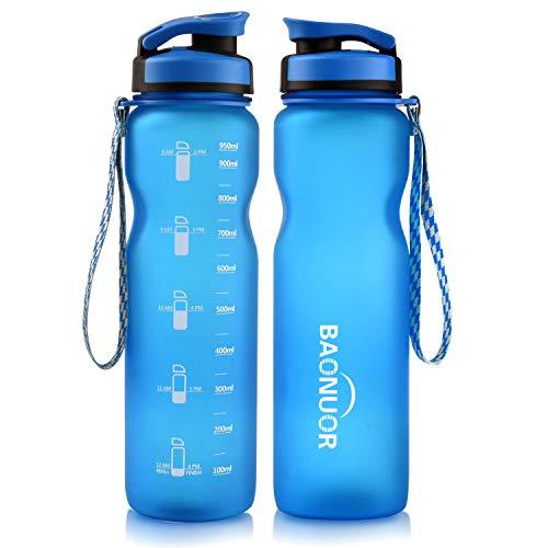 BAONUOR Trinkflasche 1L, BPA-Frei Tritan Wasserflasche Auslaufsicher Flasche 1000ml, blau