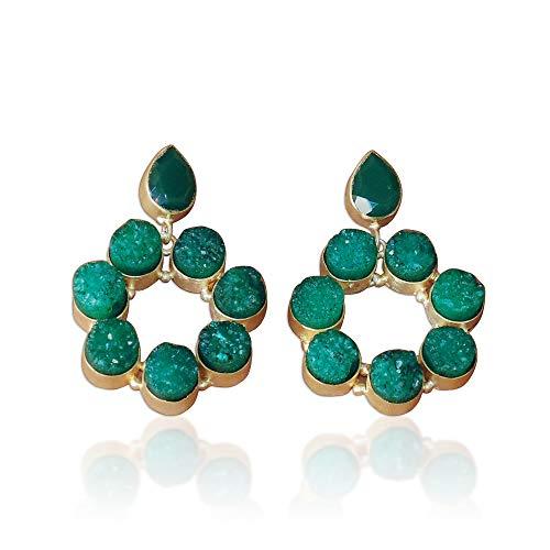 Pendientes colgantes hechos a mano de oro vermeil verde drusa y ónix verde verde de 18 quilates para boda