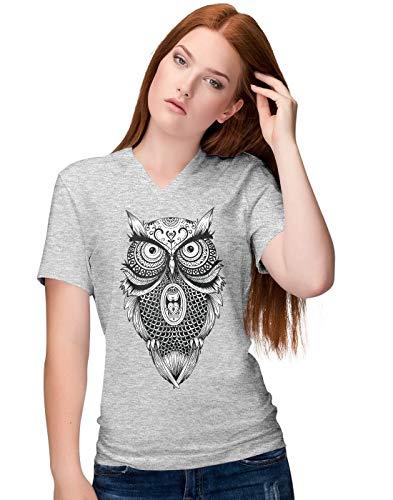 BLAK TEE Damen Detailed Mandala Owl Illustration V-Neck T-Shirt M