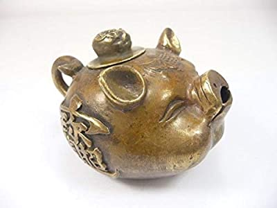 Old Decorated Handwork Copper Carving Rich Pig Bring Good Lucky Lovely Tea Pot