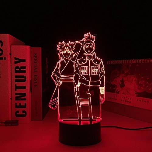 Lámpara de anime 3D para niños, figura Temari y Shikamaru, luz de noche LED para niños, luz de noche fresca, mesa de Manga, decoración de dormitorio, luz para regalo de cumpleaños