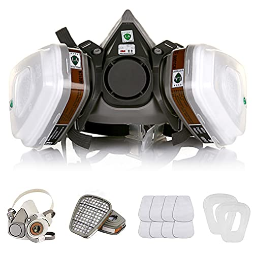 Reusable Active Carbon Respirator, Face Cover Set for Painting Against Dust/Organic Vapors/Smells/Fumes/Sawdust/Asbestos Suitable for Painting,Staining,Car Spraying,Sanding &Cutting