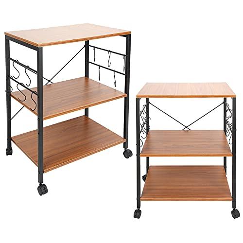 Mesa de carrito de comedor móvil, carrito de servicio con ruedas de 3 niveles, estantes organizadores móviles con ruedas para el hogar, el dormitorio, la oficina, la cocina