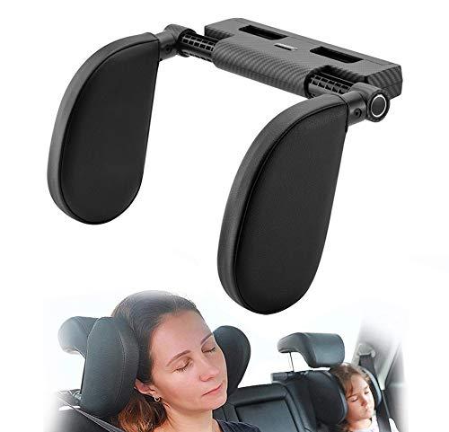 Hopeas Poggiatesta Auto per Bambini Adulti Cuscino Poggiatesta Collo per Auto Regolabile,Supporto per la Testa Laterale in Pelle (3D nero)