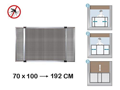 GrecoShop Zanzariera Estensibile in Alluminio con Telaio per Porte/finestre con tapparella 70x100/192 cm