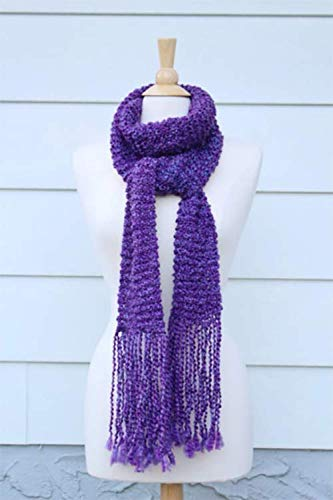 shopping Royal purple hand 5 ☆ popular knit scarf with fringe long