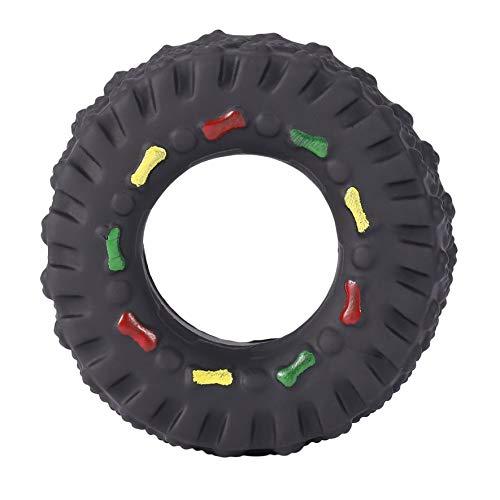 cvbf Tiergeräusche Reifenform Haustier Hundespielzeug Welpe Katze Kaut Quietschende Gummispielzeug Quietschende Reifen Haustier Spielzeug langlebig(Farbe schwarz)