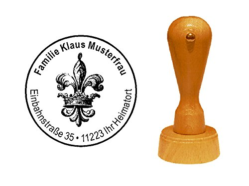 Stempel Adressenstempel « KÖNIGSLILIE » Durchmesser ca. Ø 40 mm - mit persönlicher Adresse und Motiv - Wappen König Lilie Symbol