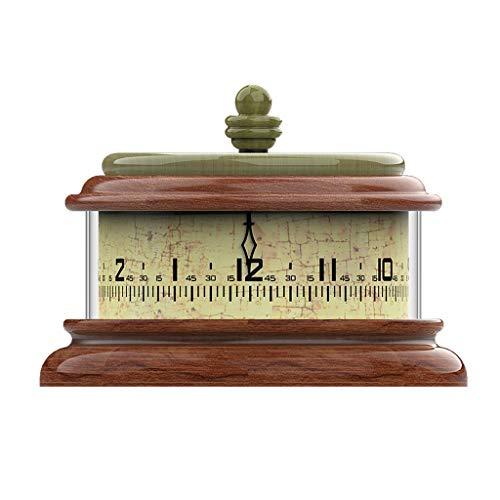 Reloj Despertador Reloj de escritorio redondo de 7 pulgadas Estilo de hamburguesa creativa reloj de escritorio de madera Dormitorio americano País Pastoral Estilo Reloj Retro Avejecido Reloj de Escrit