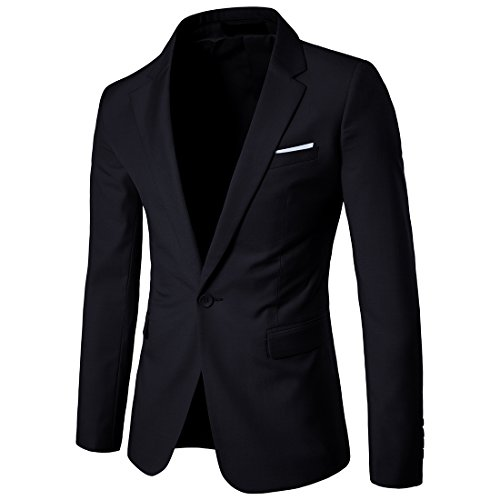 Cloudstyle Mens Suit Jacket One Button Slim Fit Sport Coat Business Daily Blazer Dark Grey X-Large