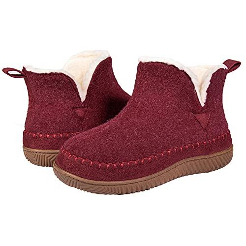 ZIZOR - Zapatillas de mocasín para mujer con espuma viscoelástica acogedora, zapatos de casa con suela de goma dura para interiores, color Rojo, talla 43 EU